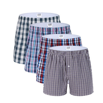 3 Pack Classic Plaid Men Boxer Shorts Mens Underwear Trunks Cotton Underwear boxers for male Woven Homme Boxer Arrow Panties Boxers