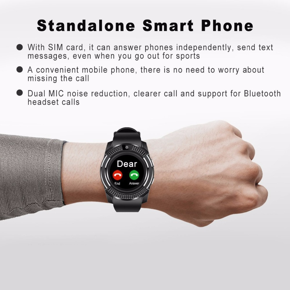 iPhone Android Compatible Sim Card Available V8 Multifunction Smart Watch
