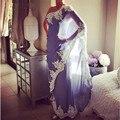 Saree Indai Longa Noite Vestidos Modest Longo Chiffon Renda Formal Evening Partido Vestido de Um Ombro Prom Vestidos Robe De Soiree