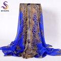 [BYSIFA] Dark Blue Silk Scarf Beach Towel Female Summer Beach Shawl Scarves Ultra Long Women Chiffon Scarf Wraps 135*135cm