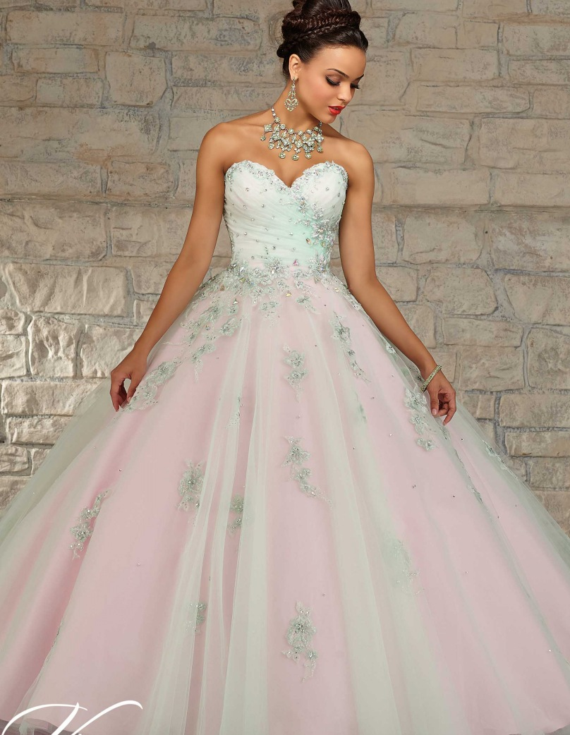 Dresses quinceanera green and pink rare photo