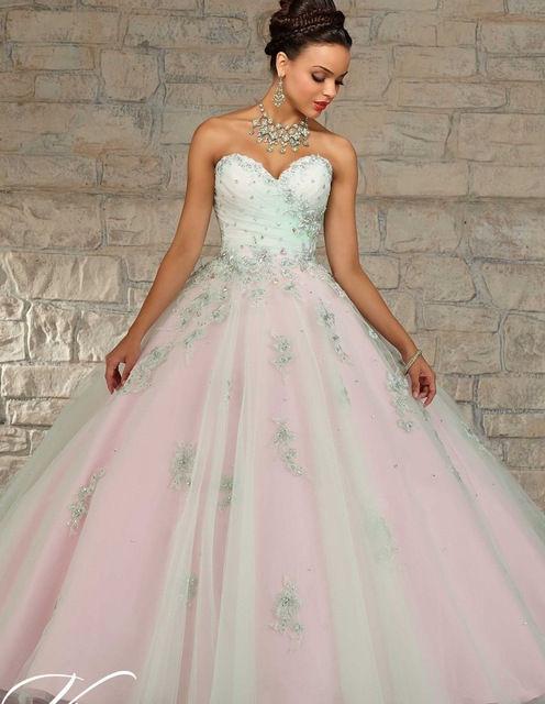 864c5612bb 2019 Cheap Quinceanera Gowns Debutante Sweet 16 Princess Dresses Champagne  Mint Green Pink Online Ball Gown 15 Years Dress
