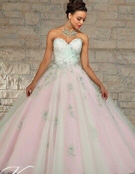 0c4fb7b43 2019 barato Quinceanera trajes Debutante 16 vestidos de princesa champán  verde menta rosa en línea vestido