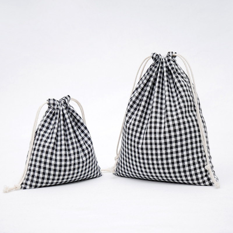 Cotton Linen Drawstring Bag Black White Plaid Grid Festival Gift Packaging Bags Creative Women Phone Pouch Travel Storage EP Bag
