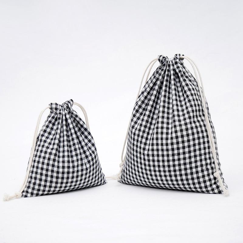 Cotton Linen Drawstring Bag Black White Plaid Grid Festival Gift Packaging Bags Creative Women Phone Pouch Travel Storage EP Bag