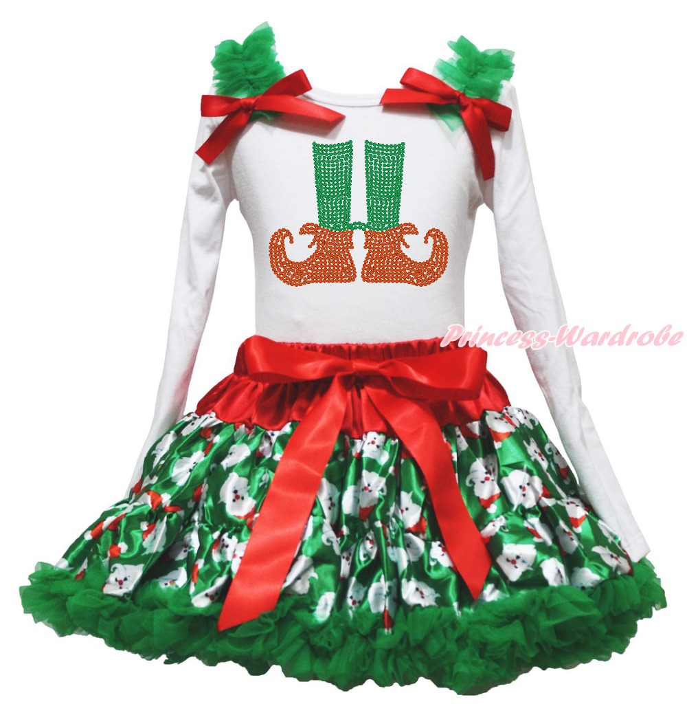 Xmas Elf Socks White Top Green Santa Claus Pettiskirt Skirt Girl Outfit Set 1-8Y my 1st christmas santa claus white top xmas dot waist girls pettiskirt set 1 8y