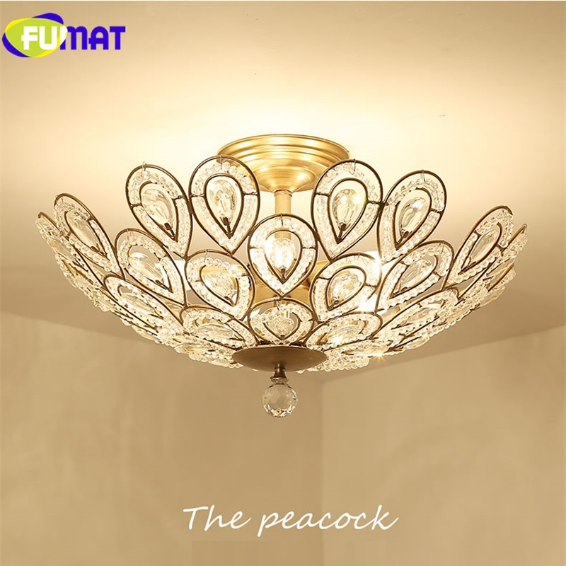 Fumat Led Ceiling Fans Crystal Light Dining Room Living: FUMAT 2019 Clear Crystal Gold Iron Art Ceiling Lamp