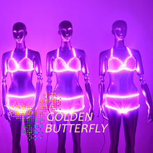 LED Clothing Women Luminous Suits Costumes Glowing LED Lady Bra Clothes 2015 Hot Fashion Show LED Shorts Dance Accessories