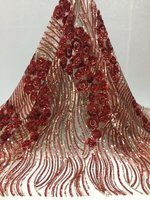 5yards Latest African Laces sequins Africa Nigerian Wedding Lace popular French Tulle Net Lace Fabric YDMAY092
