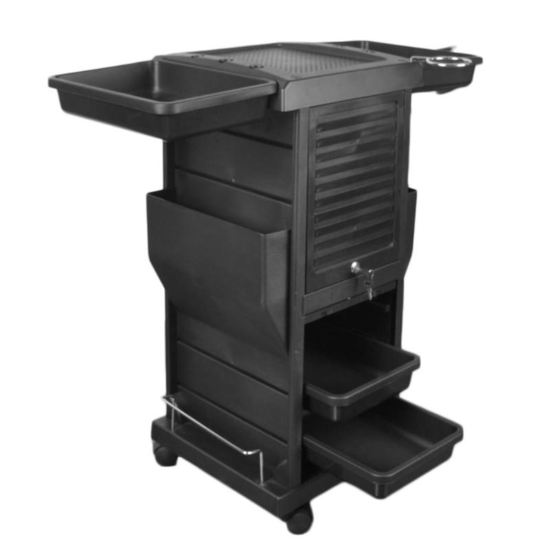 4Pcs Drawer Beauty Salon Hot Dye Cart Hair Salon Trolley Cart Removable Barber Car Hair Black Storage Tool Accessory