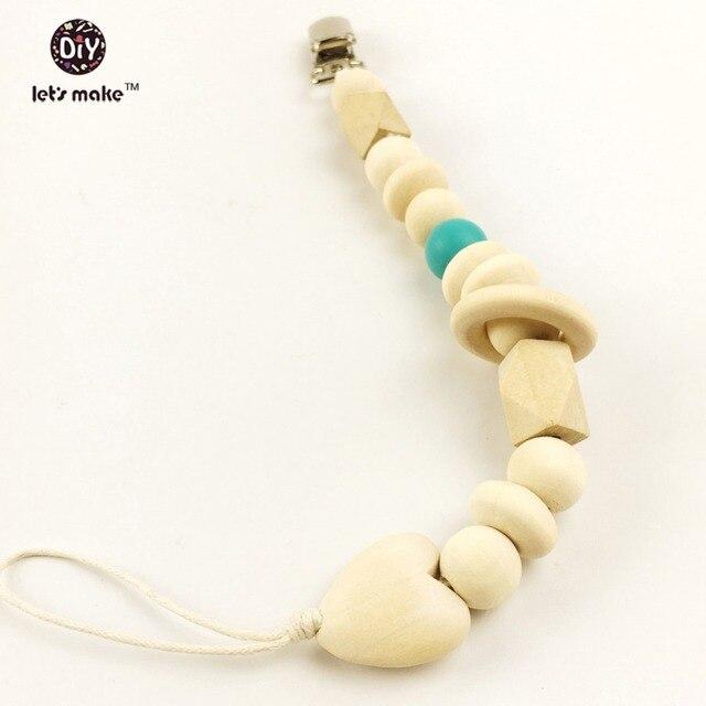 Facciamo 150 pz Blocco di Legno e Perline di Legno Fai Da Te Clip Ciuccio In Legno Naturale Organico Del Bambino Massaggiagengive Beads