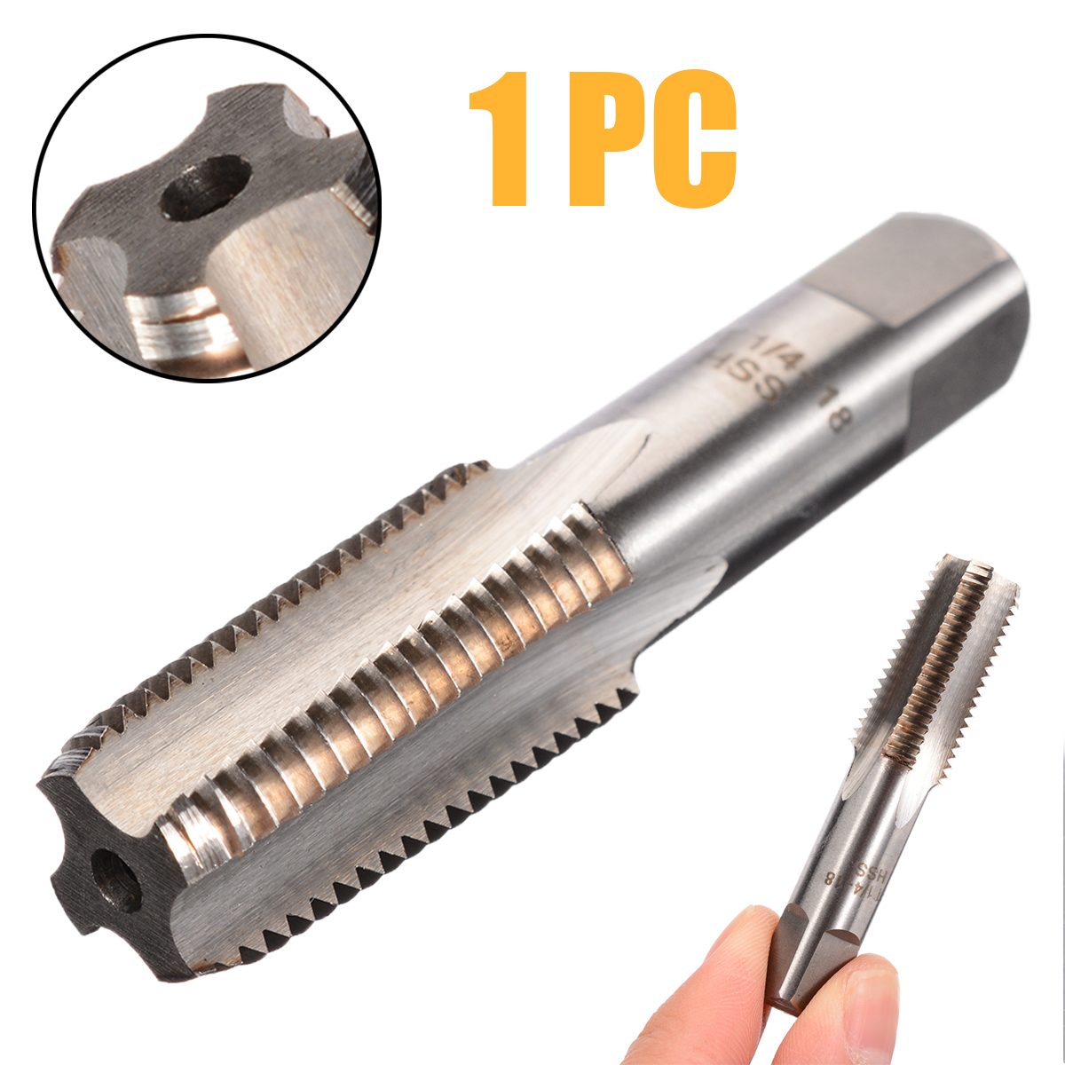 1/4 Inch - 18 NPT Metal Screw Threaded Tap Cutting Hand Tool High Speed Steel Taper Pipe Thread Machine Screw Tap