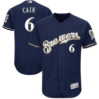 MLB Men S Milwaukee Brewers Lorenzo Cain Majestic Navy Gray Collection Flex Base Player Jersey