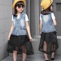 ГОРЯЧИЕ Дети девушки джинсовая куртка юбка ласточкин хвост из двух частей одежды для 8-13 лет девочка дети мода набор девушка одежда