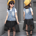 HOT Children-girl denim jacket skirt dovetail two piece  clothes for 8 &13 years old girl  kids fashion set teenage girl clothes