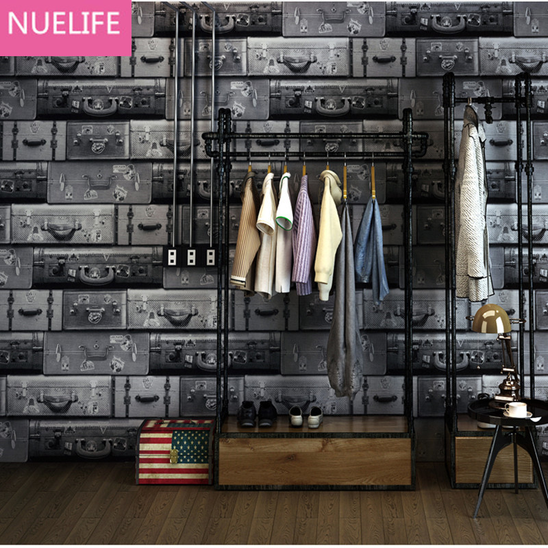 0.53x10m suitcase pattern wallpaper bar fashion personality women clothing store restaurant coffee shop leather box wallpaper human in the store there are surprises low price store products lp st cheap suitcase