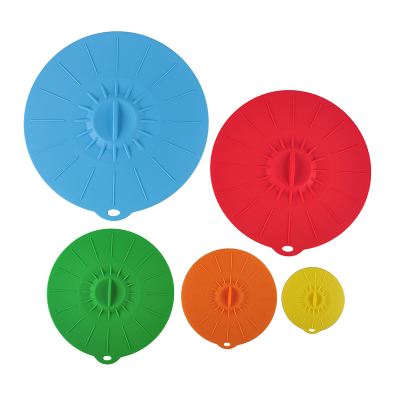 5pcs Cooking Pot Silicone Kitchen Pan Spill Lid Cover