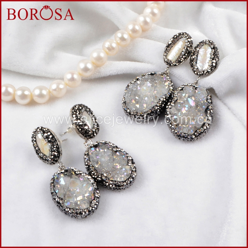 BOROSA Drusy Silver Color Natural Pearl & Oval Natural Stone Titanium AB Druzy Paved Zircon Drop Earrings Dangle Earrings JAB006