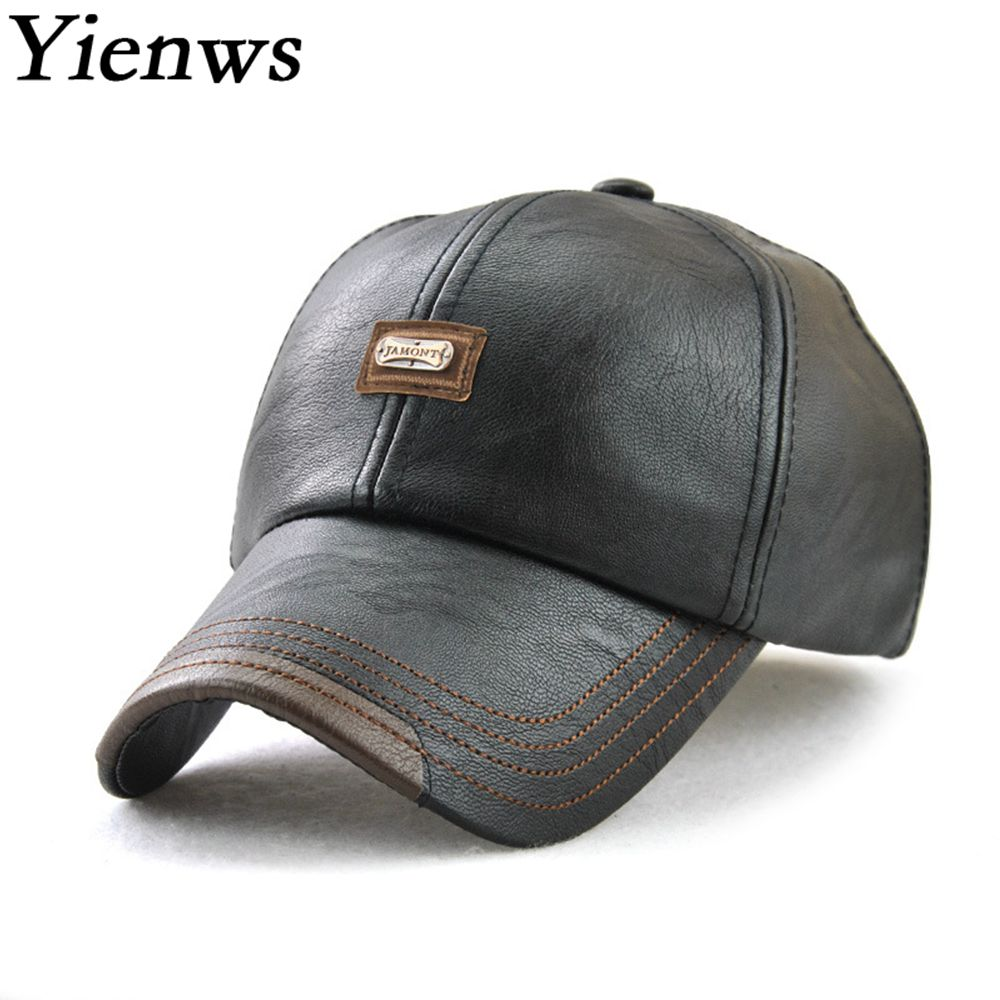 Yienws Luxury Brand Winter Velvet Hats For Men Pu Leather Baseball Cap Man Bones Masculino Dad Hat Trucker Caps Black YIC539 lovingsha skullies bonnet winter hats for men women beanie men s winter hat caps faux fur warm baggy knitted hat beanies knit