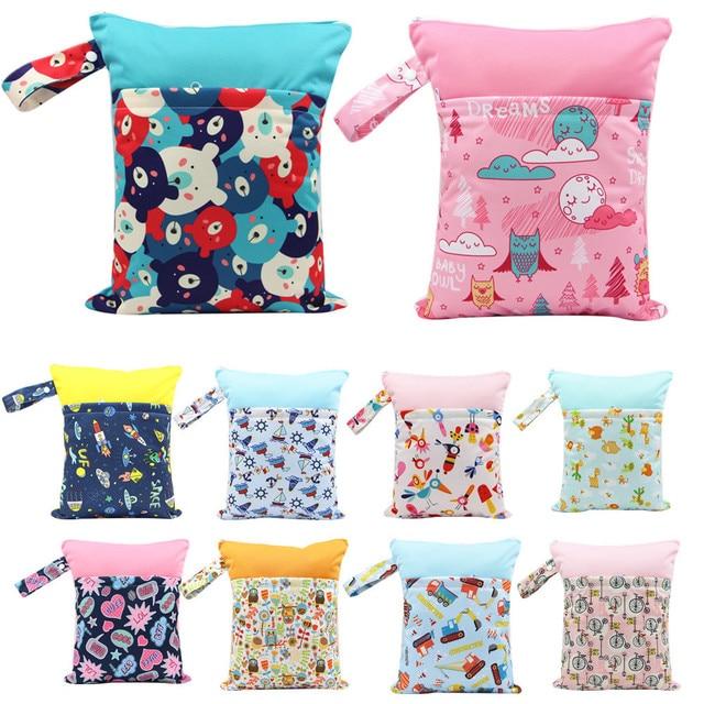 Sacos de Fraldas do bebê Impresso Com Zíper Duplo Molhado/Seco Saco Impermeável Molhado Pano WetBag Diaper Backpack Capa de Fralda Reutilizável