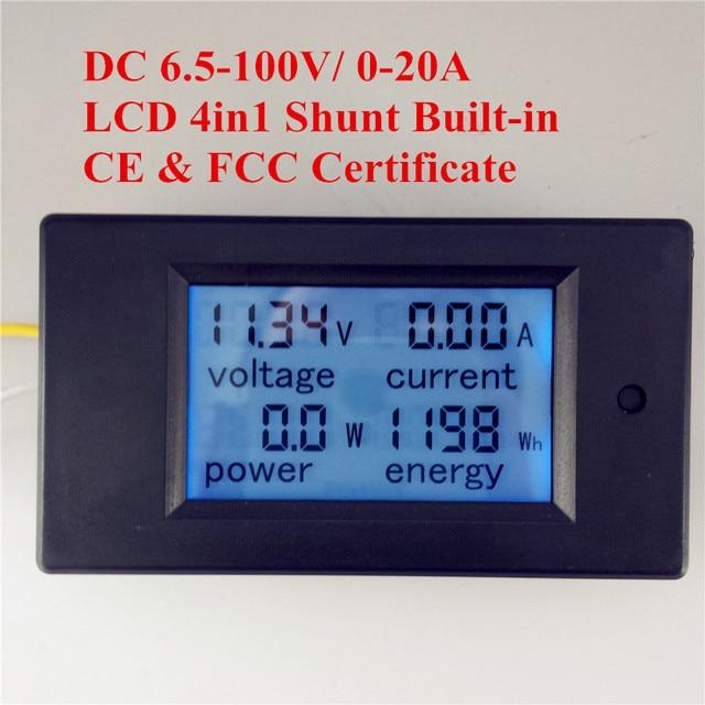 PEACEFAIR DC 6.5-100 В 20A 4 IN1 Цифровой ЖК-Экран Напряжения Ток Мощность Энергии Вольтметр Battery Monitor Panel метр