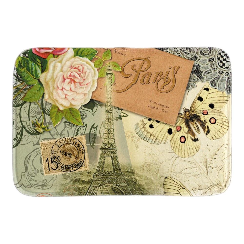 Vintage Travel Collage Doormat Eiffel Tower Paris France Post Card Door Mat For Living Room Bedroom