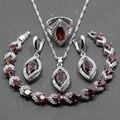 925 de Prata Esterlina Mulheres Agradáveis Conjuntos de Jóias de Casamento 4 PCS Red Garnet Tamanho do Anel 6/7/8/9/10 Comprimento Pulseira 18 CM JS32