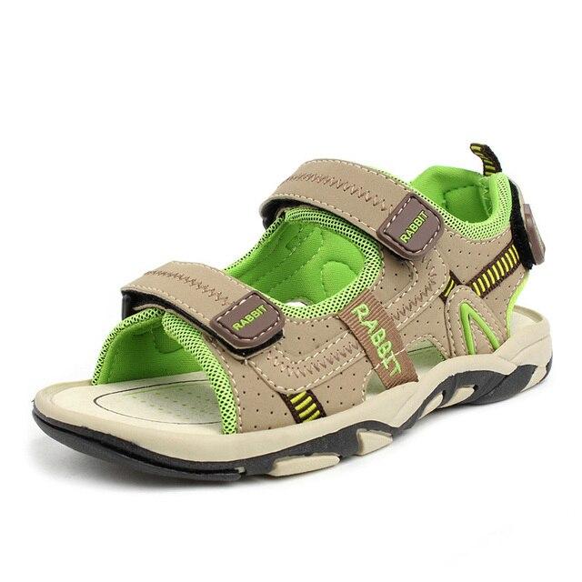 2017 Wholesale Boys Nubuck Leather Sandals Fashion Kids Summer Patchwork Color Flats Single Shoes Children Antislip Sole Sandal