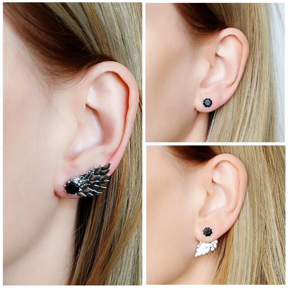 Tardoo 925 Silver Wings Stud Earrings For Women Punk Earrings Simple White Black Zircon Clear Feather Trendy Fine Jewelry pair of stylish rhinestone angle wings stud earrings for women
