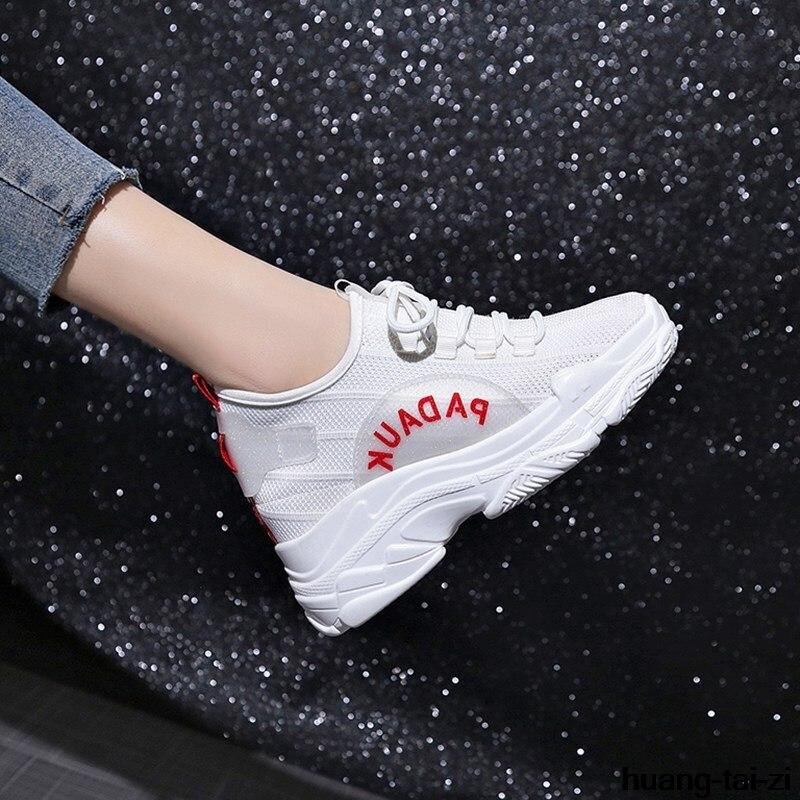 Mesh rouge Occasionnels Wedge Mode Plate Douce Chaussures on Hauts Talons Nouveau 8 Blanc forme Cm Augmenter Noir De Casual Slip 2018 Femmes xqw1BpC