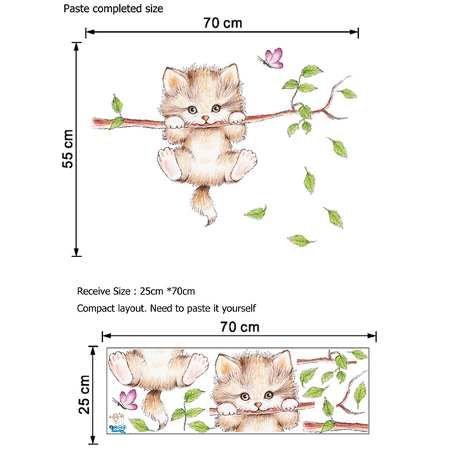 Lovely Cat hanging branches butterfly wall stickers for kids room / Children Bedroom cute Animals Wall Decals Nursery Decor Mural