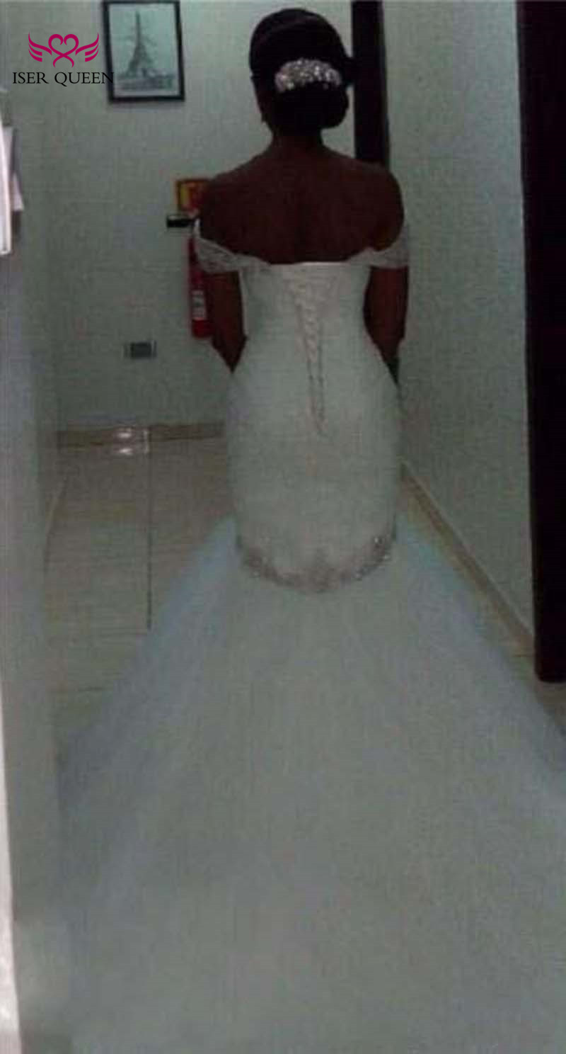 Africa Custom Made Charming Crystal Beading Pleat  Pure White Mermaid Wedding Dress Elegant bridal Gown Wedding Dresses W0228