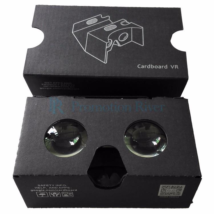 Event Supplies Logo Custom Black Google Cardboard V 2.0 Custom printing Virtual Reality Headset VR Viewer for up to 6 inch phone 7