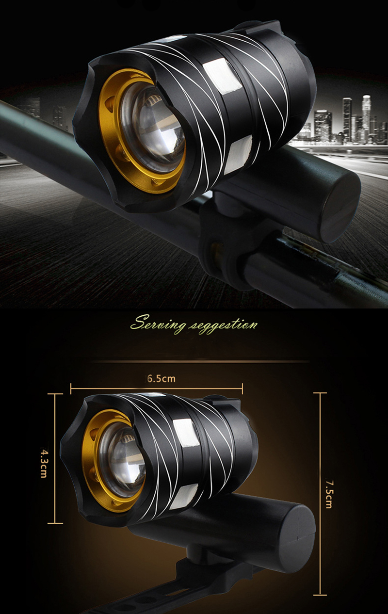 Light Bike Front Lamp Outdoor Zoomable, Torch Headlight USB Rechargeable Built-in Battery 15000LM 12