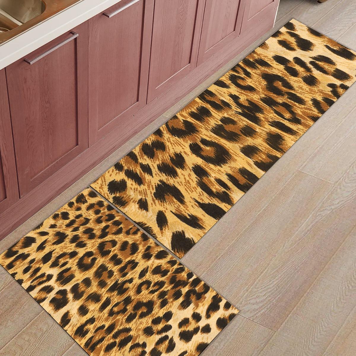 2pcs/set Leopard Print Doormat Entrance Front Door Rug ...