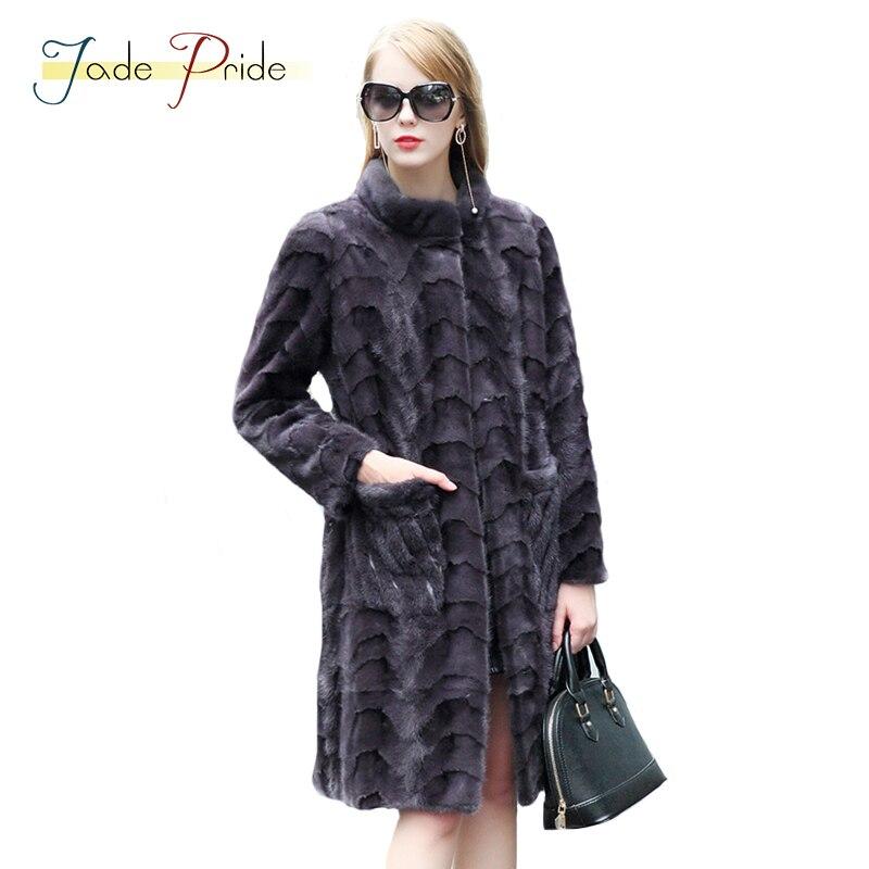 Jade Fierté Réel De Fourrure De Vison Manteau Vogue Femmes Long Parka 2017 nouvelle Hiver Mandarin Collar Pleine Manches Office Lady Casual Chaud Vestes