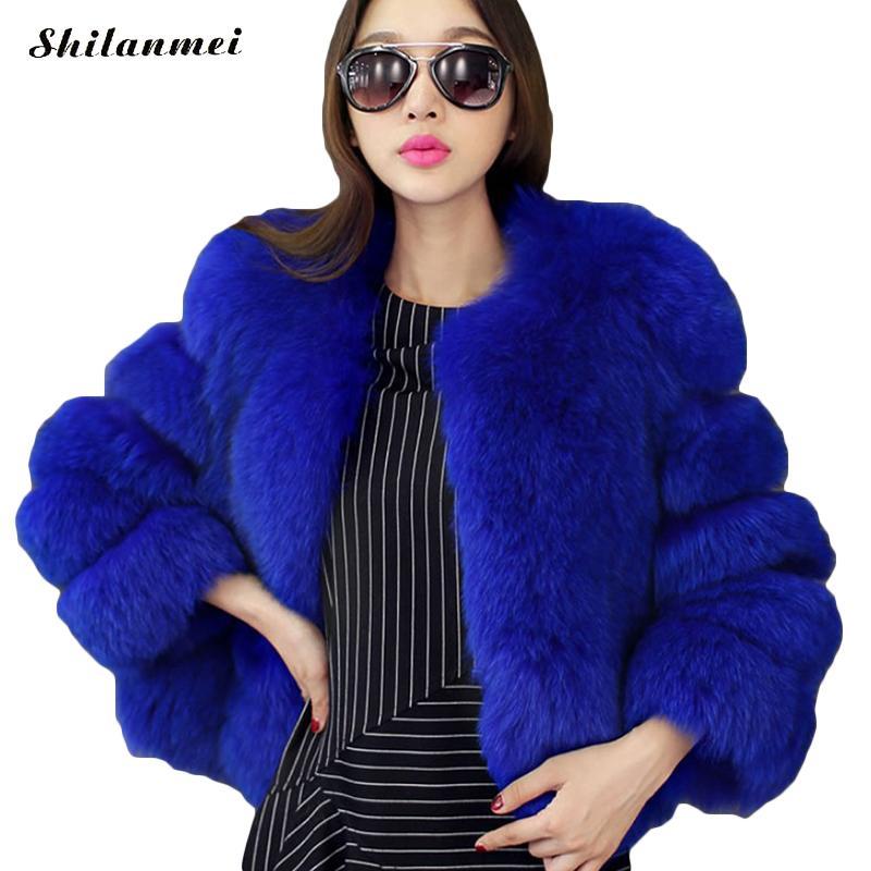 Couleur fourrure manteaux blanc bleu fausse fourrure manteau femmes hiver veste noir bleu court fourrure manteau fourrure pardessus grande taille moelleux veste
