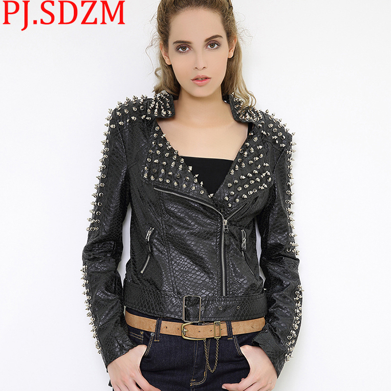 Europe Rock Women Black Rivet Jackets Faux   Leather   Coats Heavy Locomotive Coat Lapels Imitation Sheep Punk Turn-down Outerwear