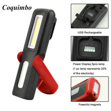 Portable COB LED Flashlight Magnetic Work Light USB Rechargeable Lantern Power display Hanging Torch Lamp Night Lighting(China)