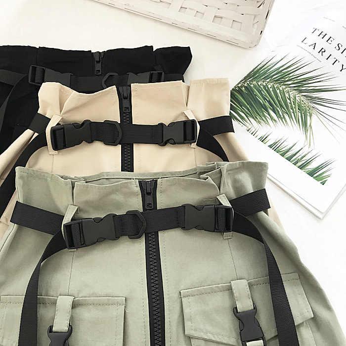 Streetwear Pannello Esterno di Scarsità Delle Donne di Estate Gonna A Vita Alta Femminile Harajuku Tasca Cintura Fibbia Mini Pannello Esterno Safari di Stile Del Partito Del Pannello Esterno