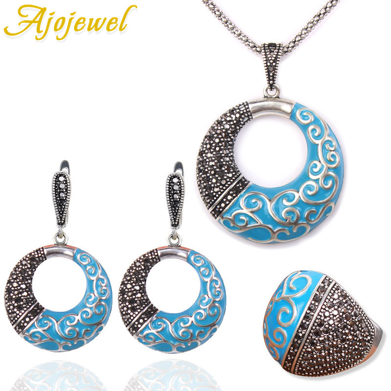 Ajojewel Beautiful Colorful Painting Fashion Jewelry Sets For Women Round Shaped For Party Enamel Ethnic Vintage Wedding Gifts