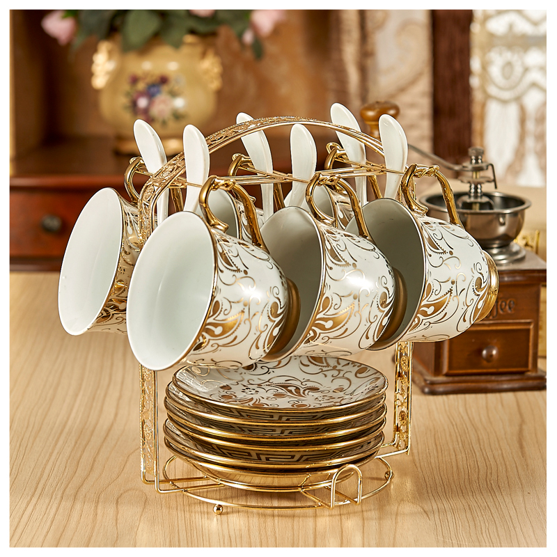 200ml 13 pcs Ceramic golden coffee cup set d'Angleterre black tea cup drinking cup fashion brief 6 piece set tea set with rack
