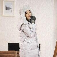 INMAN Women 's hooded thicken female warm long down jacket keep warm winter coat duck down women ladies leather coats