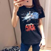 2019 spring and summer new O neck short sleeve Star pattern printing women casual cotton T shirts tee