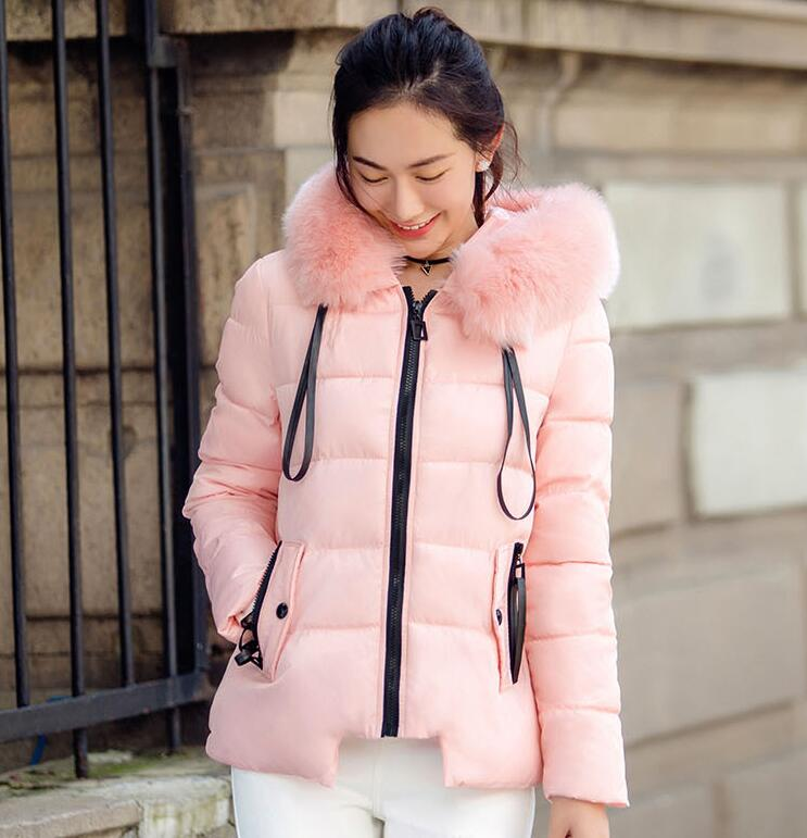 Fashion Women Winter Jacket New Big Fur Collar Hooded Warm Jackets for Woman Casual Down Cotton