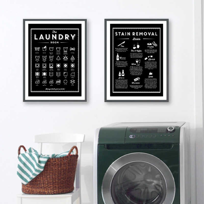 Symbols and Stain Removal Laundry Sign Canvas Art Posters Prints Black White Painting Laundry Room Wall Decor Housewarming Gift