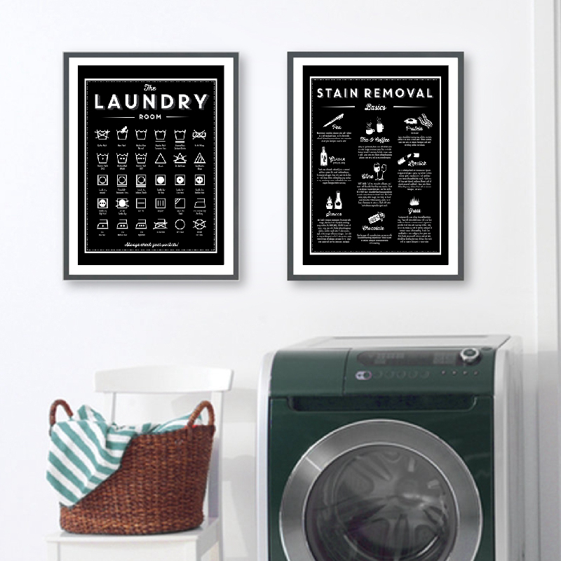 Symbols and Stain Removal Laundry Sign Canvas Art Posters Prints Black White Painting Laundry Room Wall Decor Housewarming Gift(China)