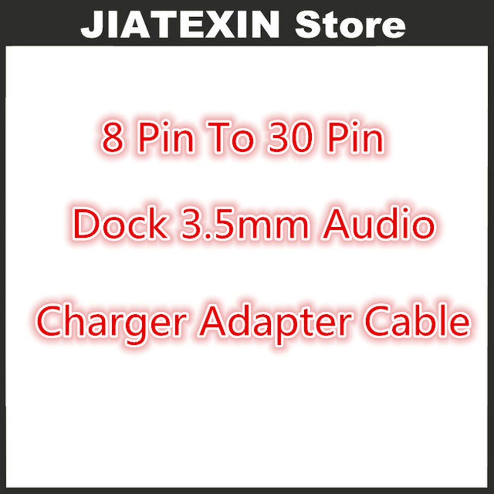 100 Teile/los 8 <font><b>Pin</b></font> Bis <font><b>30</b></font> <font><b>Pin</b></font> <font><b>Dock</b></font> 3,5mm Audio Ladegerät Adapter Konverter kabel Für iPhone 6 6 s Plus 5 S zu iphone 4 S 30pin <font><b>Dock</b></font> image