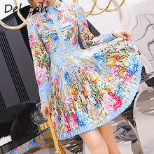 цены Delocah Autumn Women Dress Runway Fashion Designer Long Sleeve Gorgeous Beading Flower Printed Pleated Mini Lady Dresses