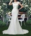 Vestido De Novia De Sirena Primicia Tribunal Tren Vestidos de Novia Vestido de Las Novias de Manga Corta Personalizado Barato Largo de La Gasa vestido de Novia